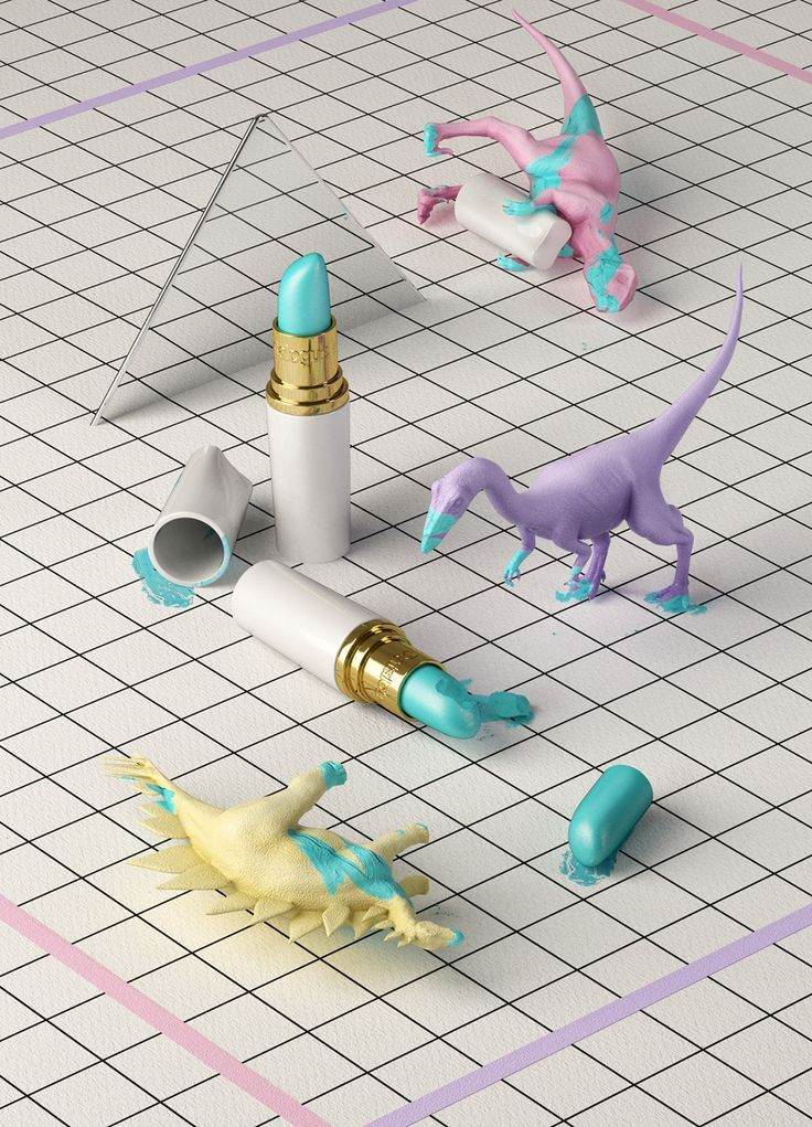 design, still life, toy dinosaurs, lipstick