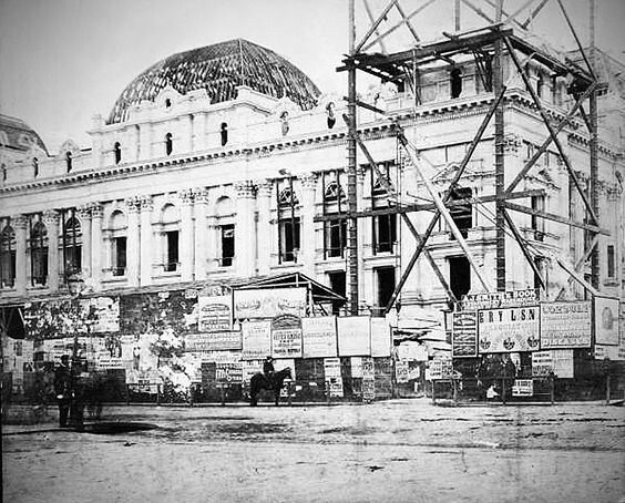 Construction of Melbourne Town Hall in Victoria in c.a.1870.