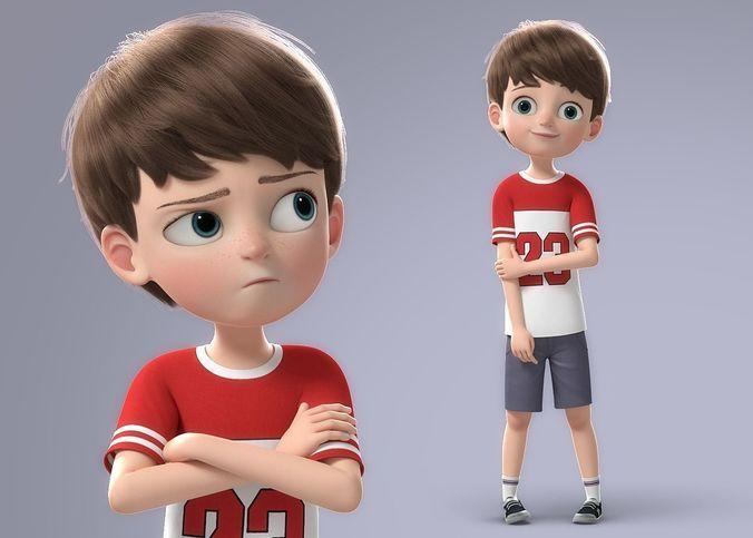 Cartoon Family Rigged V4 3d Model Boy Cartoon Characters Kids Cartoon Characters Cute Cartoon Boy