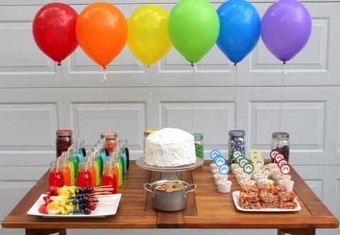 easy rainbow dessert table
