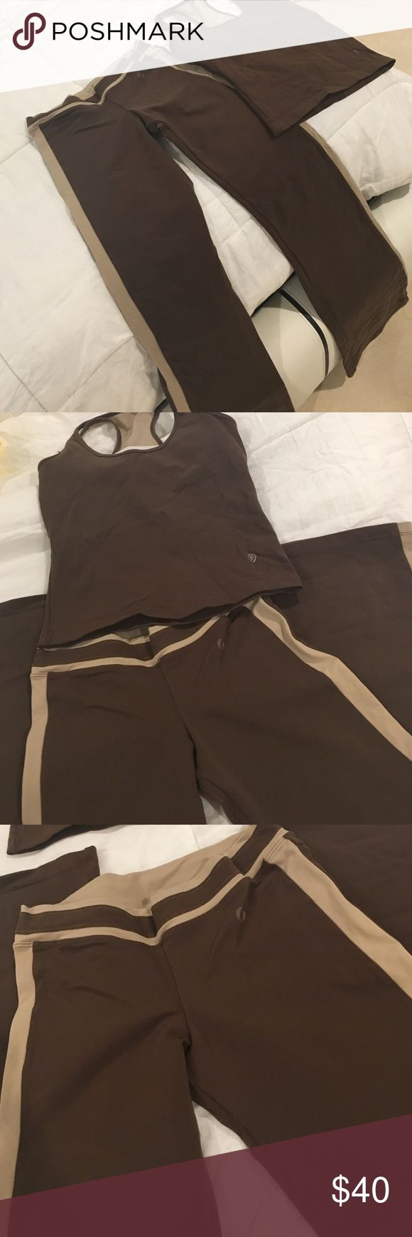 Brown Sparta workout outfit Dark brown gym outfit, size small worn few times, flare pants no leggings Pants Leggings
