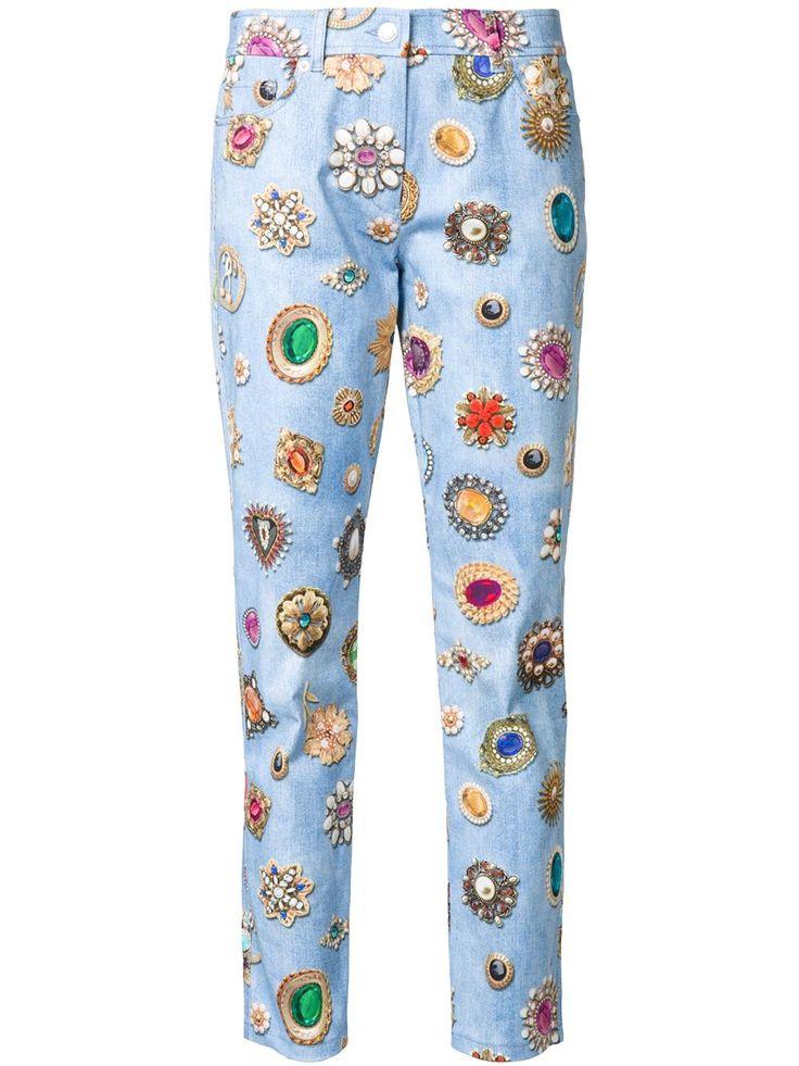 Moschino джинсы кроя слим с принтом