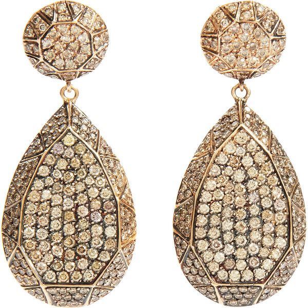 Ileana Makri Champagne Diamond Gem Teardrop Earrings