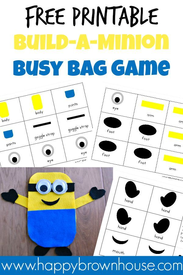 Free Printable Build-a-Minion Busy Bag Game--Perfect for the little minion lovers!