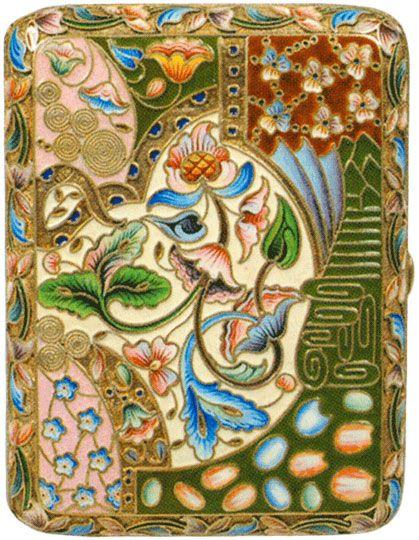 Портсигар украшенный полихромными эмалями Конец XIX - начало XX веков