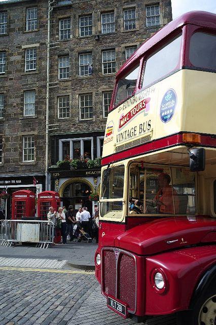 Edinburgh, Scotland // A VINTAGE double-decker bus? I need to ride one of those someday...