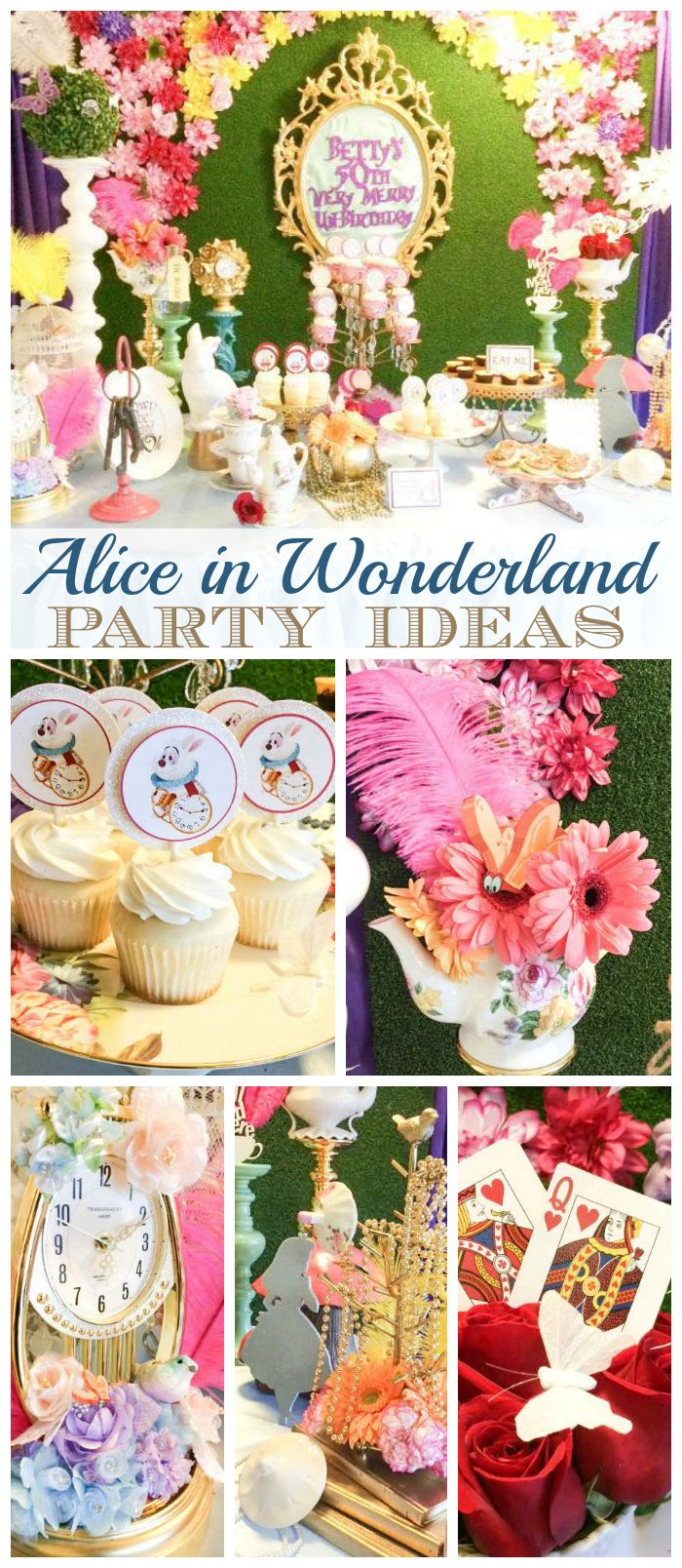An Alice in Wonderland girl birthday party with gorgeous flowers and party decorations! See more party planning ideas at CatchMyParty.com!