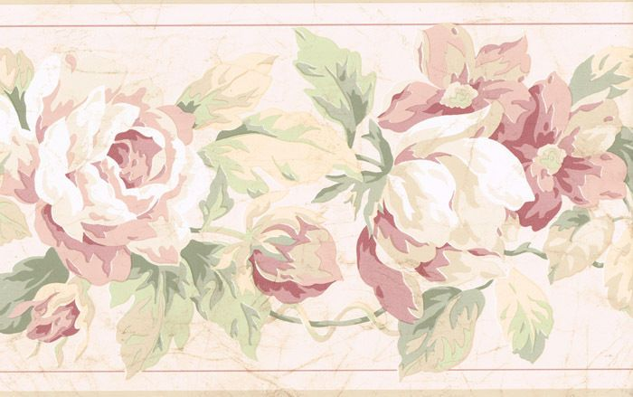 Classy Chic Pink Rose Victorian Floral Wallpaper Border