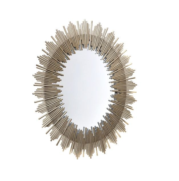 Franklin Wall Mirror. Antique gold oval wall mirror with  layered tubes of different sizes in a beautiful pattern.  Dimensions:  86.36cm W x 3.8cm D x 102.9cm H  Weight:7.00 kg