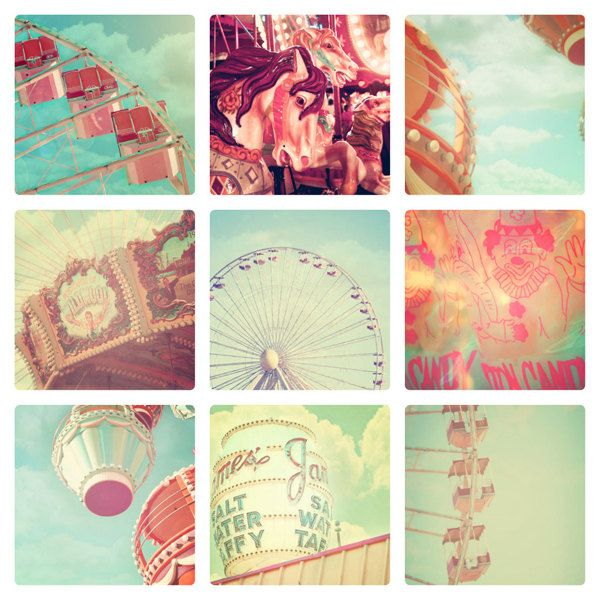 Carnival Photographs, Set of 9, 4x6 photos, vintage circus, shabby chic nursery decor, fPOE, ferris wheel, carousel, soft pastel color, via Etsy.