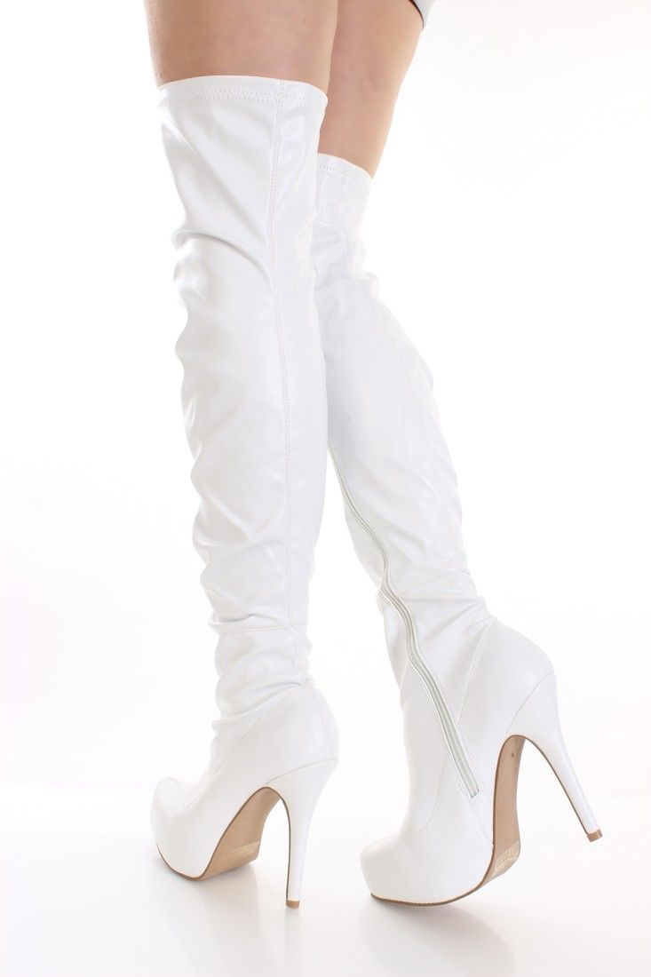 White Faux Leather Thigh High Boots