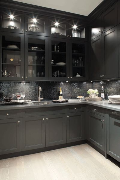 Kelly deck design kitchens butler 39 s pantry glass for Grey floor black cabinets