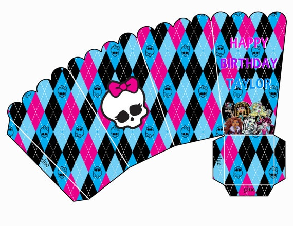 Monster High Popcorn/Treat Box  Digital File by ADTRCustomDesigns, $4.00