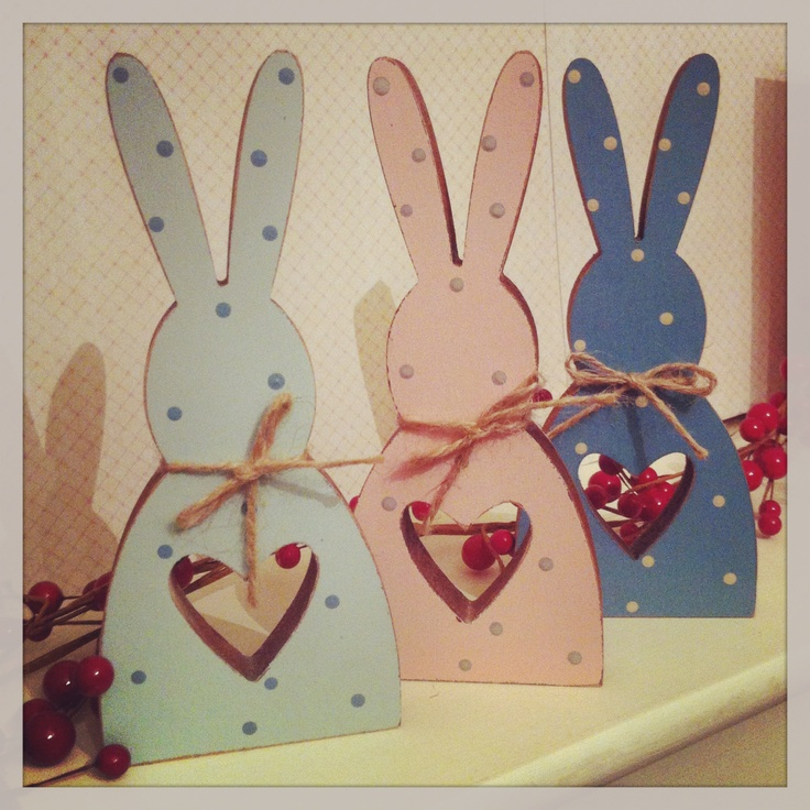 Cute wooden bunnies with polka dots, made by us, the Pear Tree www.thepeartree.moonfruit.com Thepeartree@live.co.uk