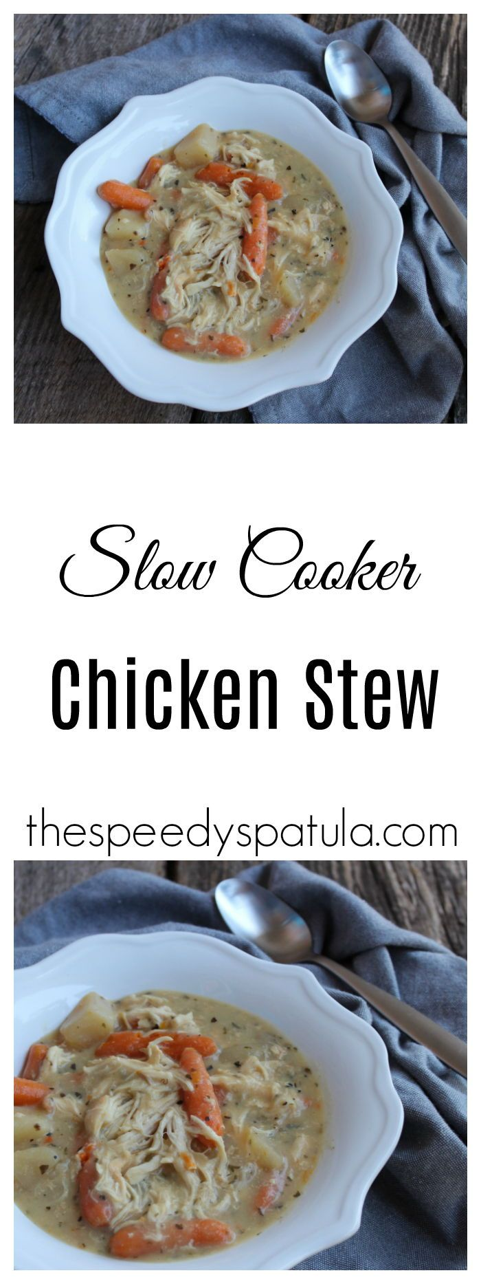 Delicious and hearty Chicken Stew, all made in the slow cooker! #thespeedyspatula #slowcooker #crockpot #slowcookerrecipes #crockpotrecipes #soup #stew #weightwatchers #weightwatchersrecipes