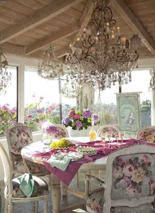 Beautiful: Dining Area, Chandelier, Screens Porches, Chairs, Sun Porches, Shabby Chic, Vintage Rose, Teas Parties, Sunroom
