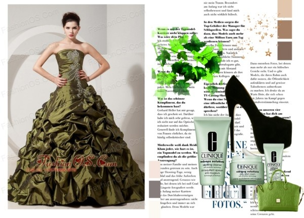 """""""Olive Green A-line / Princess Strapless Sweet 16 Dress Brush Tain Taffeta Beading"""" by fancydressesforyou ❤ liked on Polyvore"""