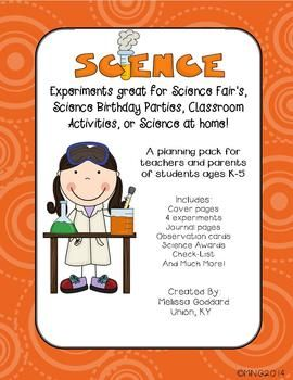 Science Experiments: great for Science Fairs, Science Birthday Parties, Classroom Activities, or Science at home!*******Buyers: Please note that 3 of the 4 experiments are also included in my Science Experiments unit on TpT. They have been rewritten in an easy black and white format for easy printing******* Includes: Parent Letter: (very generic)(3) Science Stationary: Blank Science Participation Award (Color)(4)Science Fair Participation Award (B&W) Certificate of Participation This Sci...