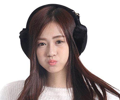 Lovful Women's Lady's Knitted Warm Earmuffs for the Winter, Black * Continue to the product at the image link.
