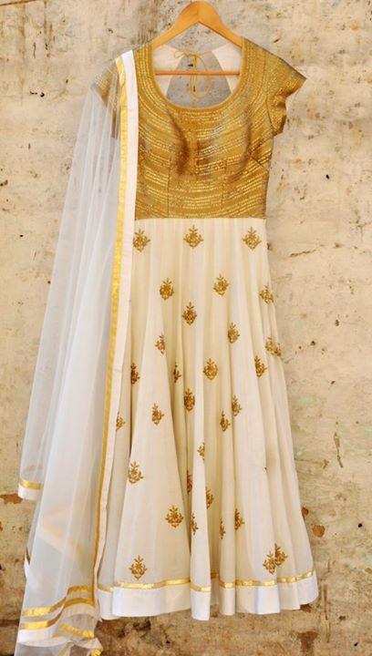 Gorgeous Cream & Gold #Anarkali by Amrita Thakur https://www.facebook.com/pages/Amrita-Thakur/112558018840657 ~