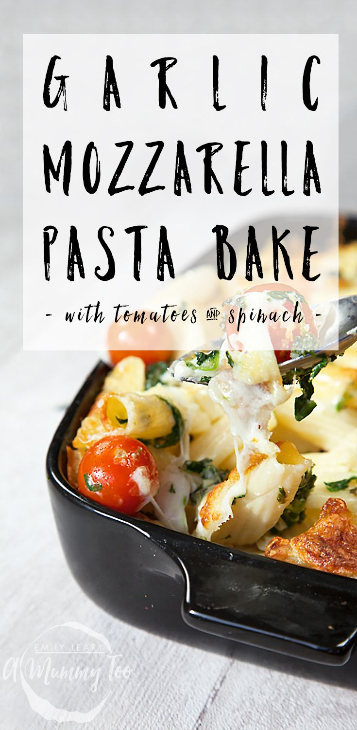 Here's a really simple, pasta bake that doesn't take hundreds of pots and pans to make and looks impressive when served at the dinner table. It's a deliciously stringy, garlicy, cheesy pasta bake with spinach and refreshing bursts of ripe cherry tomatoes.