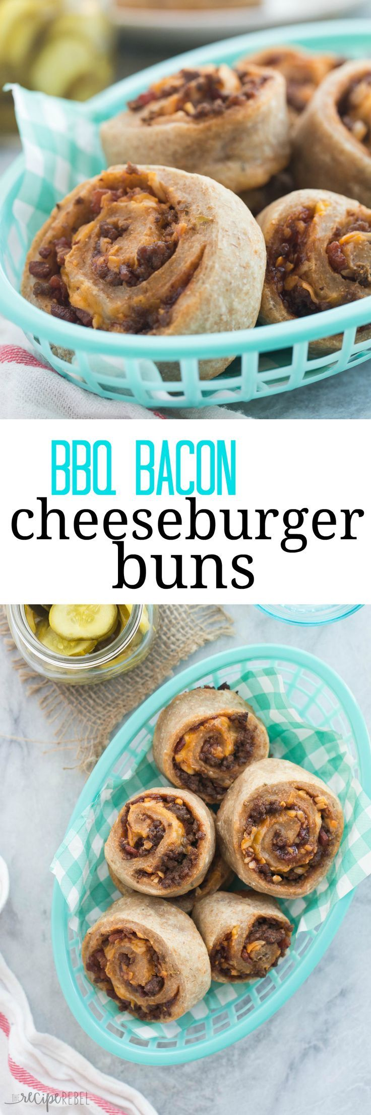 These BBQ Bacon Cheeseburger Buns are perfectly portable for road trips, picnics or school lunches and they're freezer friendly! Use store bought bun or pizza dough to make these even easier.