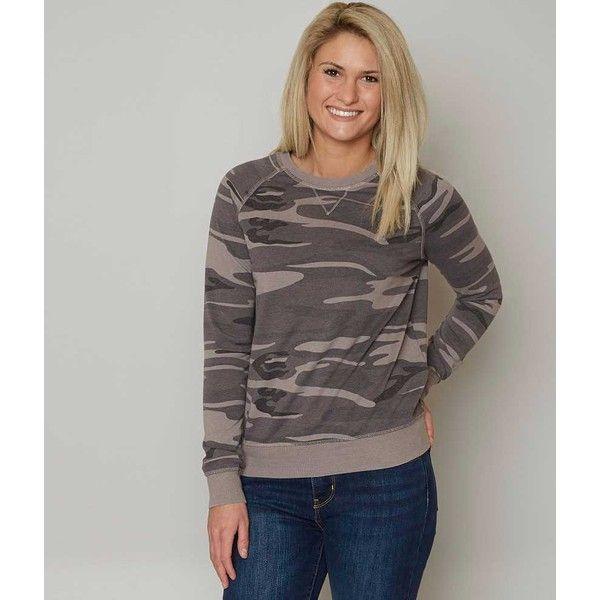 Z Supply Camo Sweatshirt - Grey Medium ($43) ❤ liked on Polyvore featuring tops, hoodies, sweatshirts, grey, camo sweatshirts, camouflage top, camo print top, camo top and gray sweatshirt