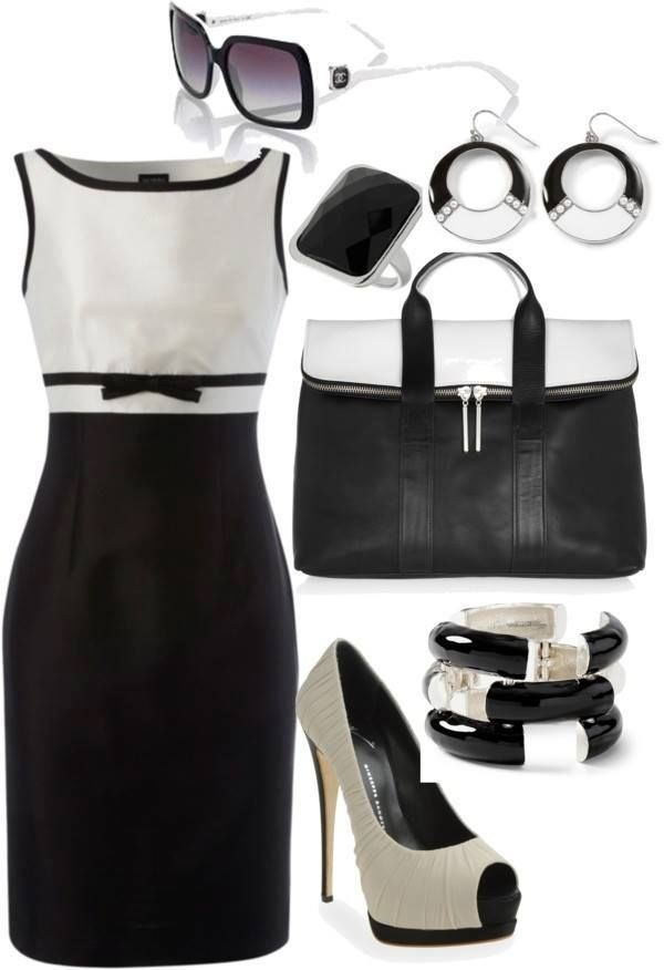 Black and white classic dress with bow ...