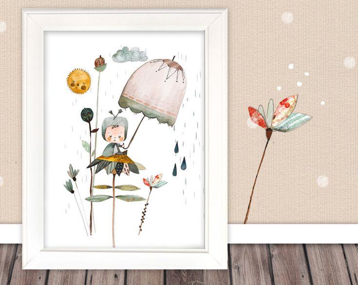 """Bilder - Kinderbild """"Kind auf Blume"""" - ein Designerstück von pipapier bei DaWanda"""