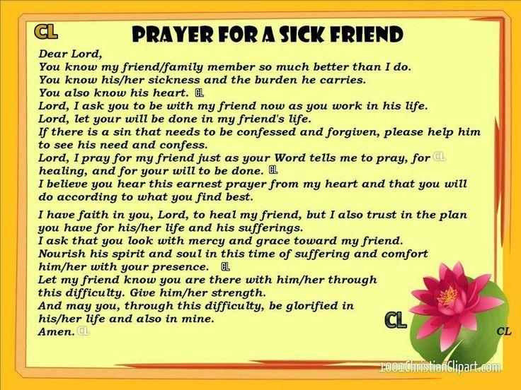 beautiful prayers pinterest Prayer for a sick friend
