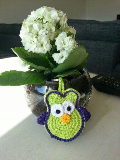 Crochet owl keychain - hæklet uglenøglering