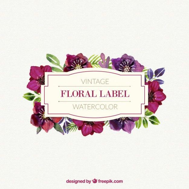 Acuarela etiqueta floral linda en el estilo vintage Vector Gratis