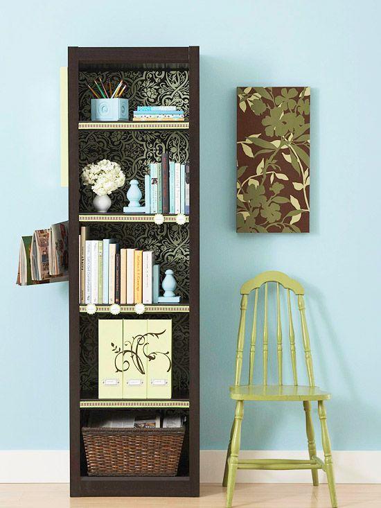 add wallpaper to the back wall of a bookshelf: Wall Colors, Decor Ideas, Storage Boxes, Organizations Bookshelves, Ribbons, Scrapbook Paper, Add Wallpapers, Bookshelf Ideas, Bookca