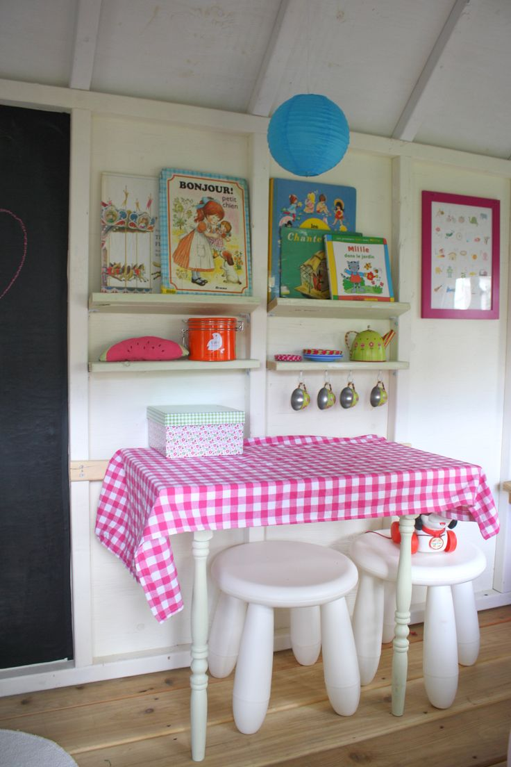 The playhouse project! playhouse table, playhouse decor, playhouse shelves, chalkboard, books