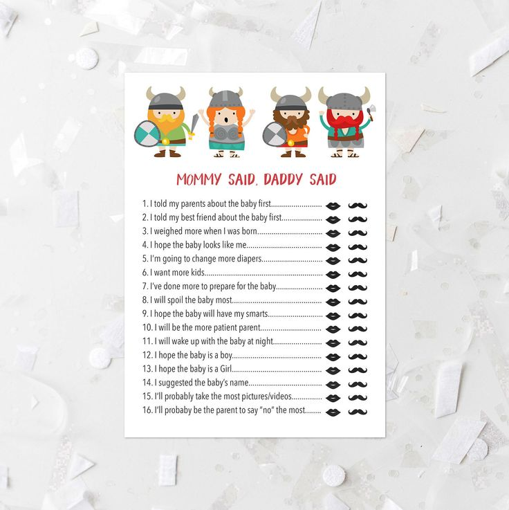 Viking Mommy Said Daddy Said Game Printable She Said He Said Shower Game Viking Baby Shower Activity Viking People Baby Shower Games 101 by MossAndTwigPrints on Etsy