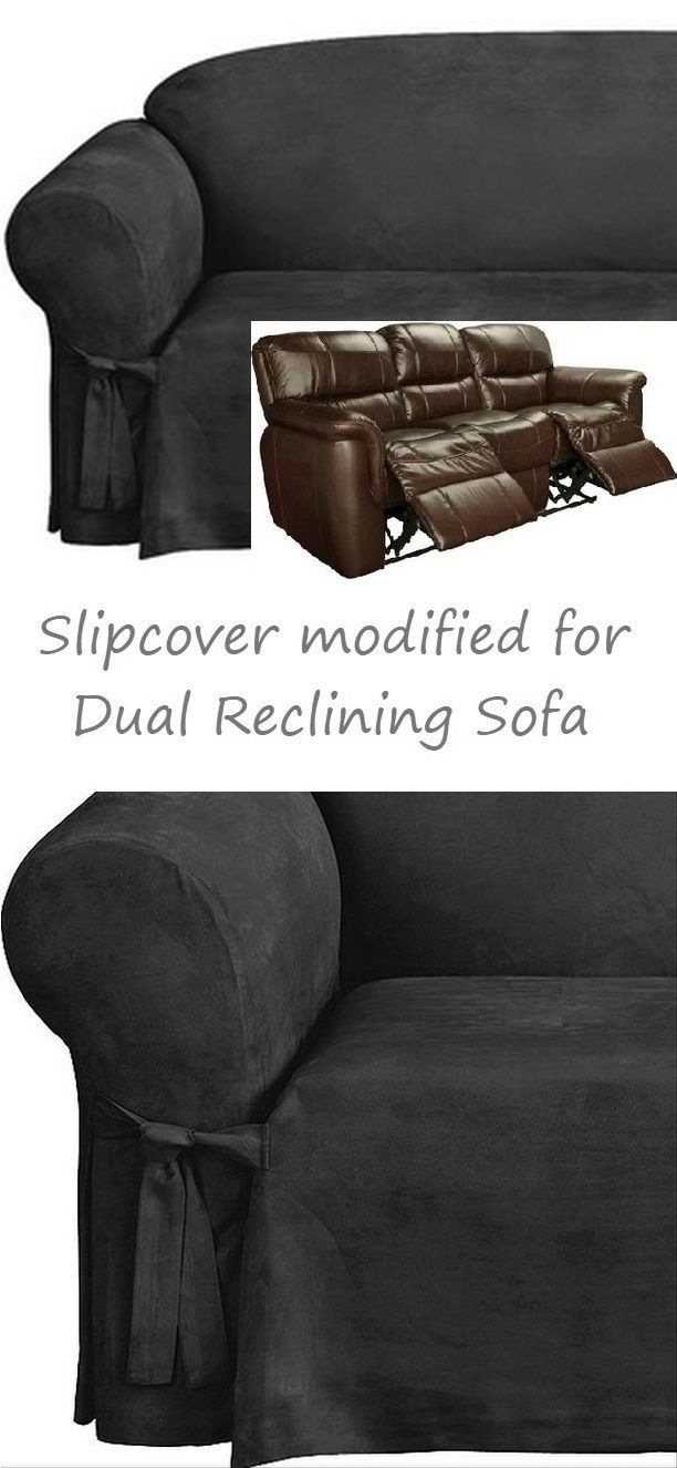 Reclining Sofa Slipcover Black Suede 3 Seater Dual Recliner Couch