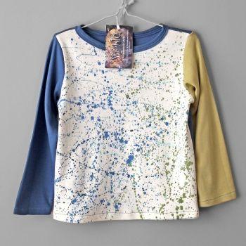 Smukie | Children | Clothing | T-shirt for boy. Organic cotton. Hand painted. Long sleeve. - Handmade Emporium