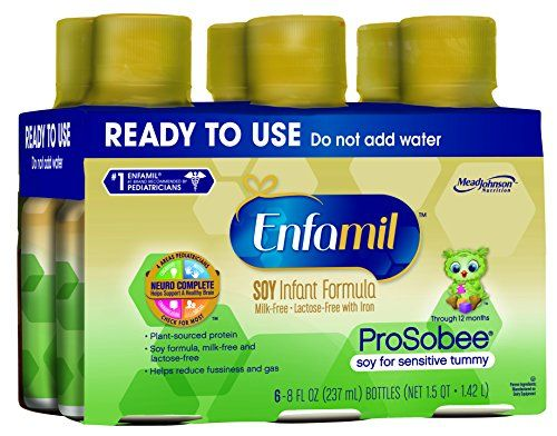 #Enfamil ProSobee is a soy-based infant formula designed to reduce fussiness and gas sometimes caused by milk-based formulas. It is a lactose-free, dairy-free al...