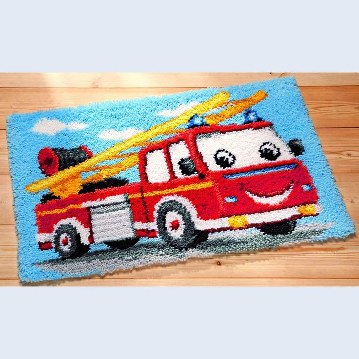 Latch Hook Fire Engine Latch Hook Rug Vervaco
