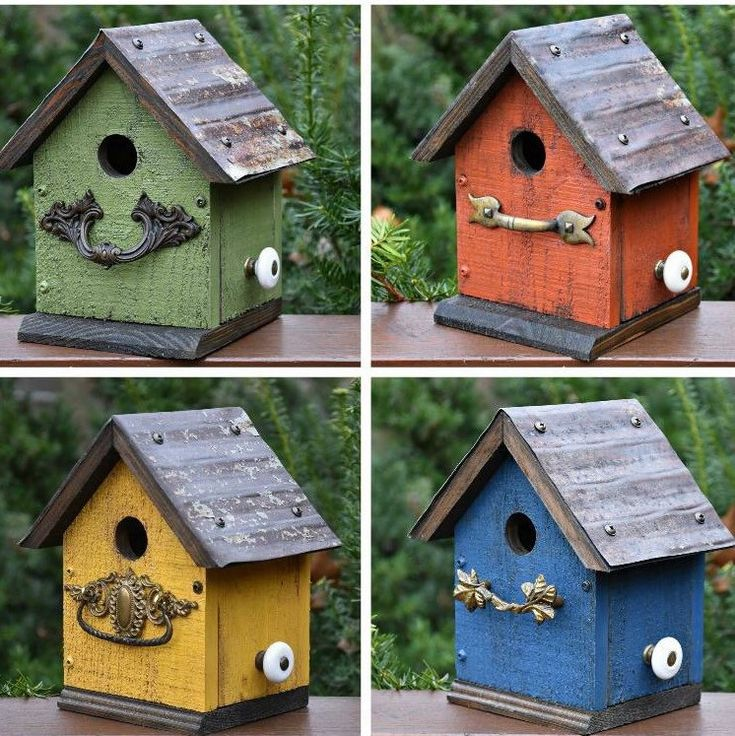 So many colors to choose from in this smaller birdhouse - The cabin!