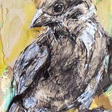 joan martin, sparrow, mixed media, 15x10cm.jpg