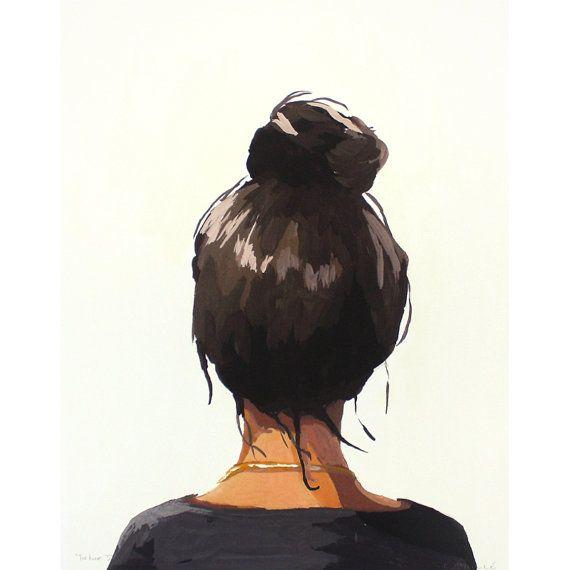 """8×10″ hair art – bun print – """"Top Knot 37"""" – Melina Rosalie"""