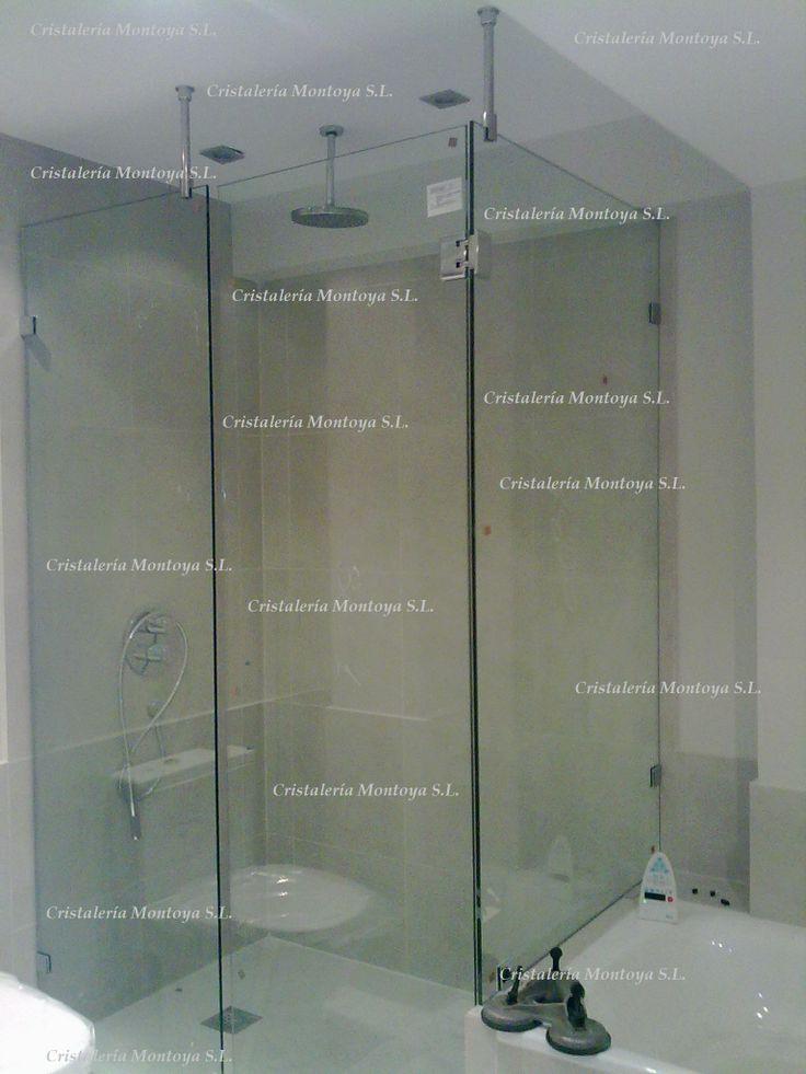 Mampara de ducha en baldosa 10 mm templado con sus for Bisagras para mamparas