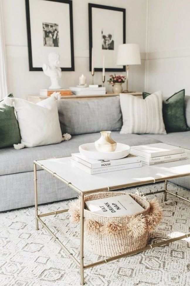 Neutral Living Room With Green Accents In 2020 Rugs In Living Room Living Room Designs Neutral Living Room