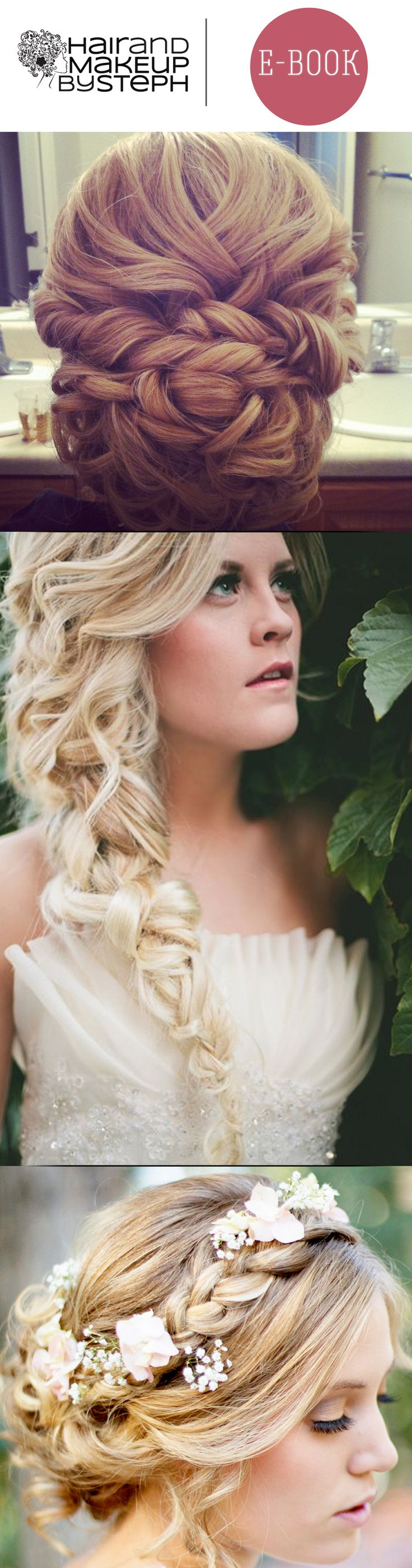 Check out this e-book by our friend @Stephanie Brinkerhoff with hair tutorials for these bridal updos and more! She rocks :)