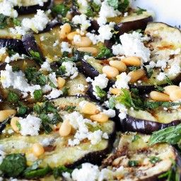 Grilled Eggplant Salad with Feta, Pine Nuts