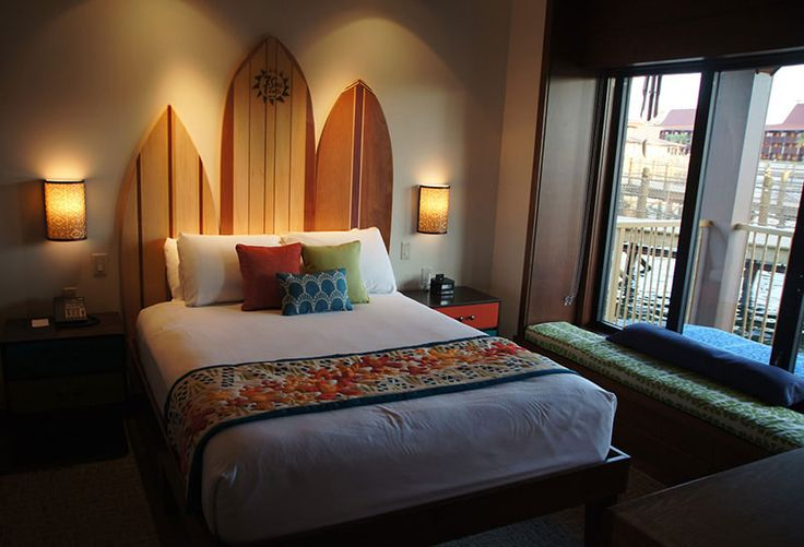 Bedroom design featuring bed with headboard made of wooden for Surfboard decor for bedrooms