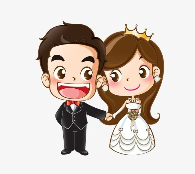 Cartoon Bride And Groom, Creative, Wedding, Cartoon PNG ...