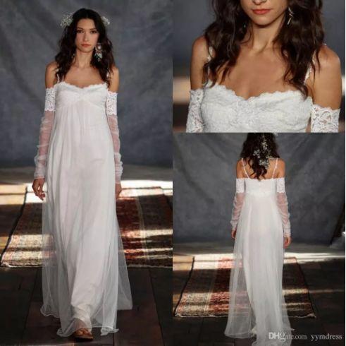 Bohemia Wedding Dresses 2018 Summer Beach Greek Style Sheath Spaghetti Straps Vintage Lace with Illusion Long Sleeve Boho Bridal Gowns Cheap