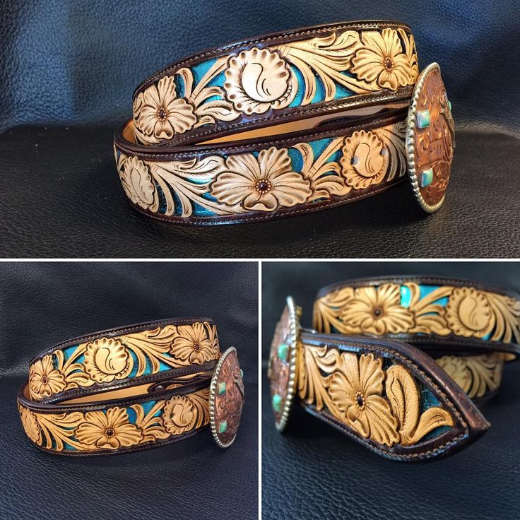 Chocolate two toned floral filigreed in metallic turquoise. Headed to Texas! #TannerCustomLeather #tannermade #tannerbeltdesign #custommade #filigree #belt #handtooledleather #HandMadeNotHomeMade